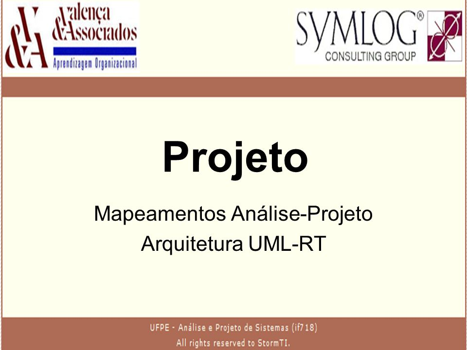 Mapeamentos Análise-Projeto Arquitetura UML-RT