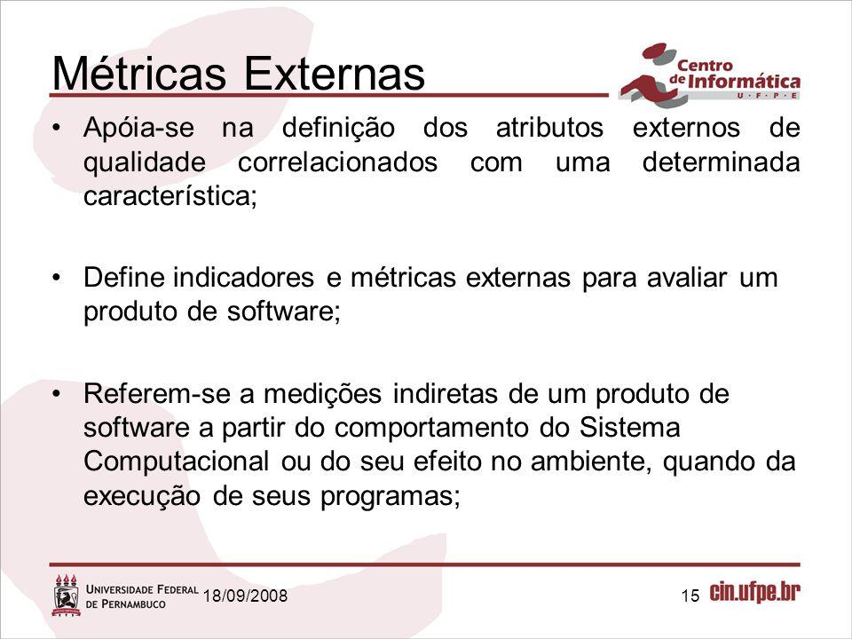 Métricas Externas Apóia-se na definição dos atributos externos de qualidade correlacionados com uma determinada característica;