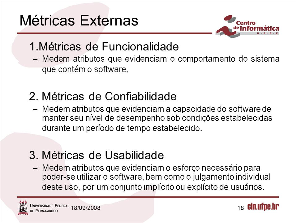 Métricas Externas 1.Métricas de Funcionalidade