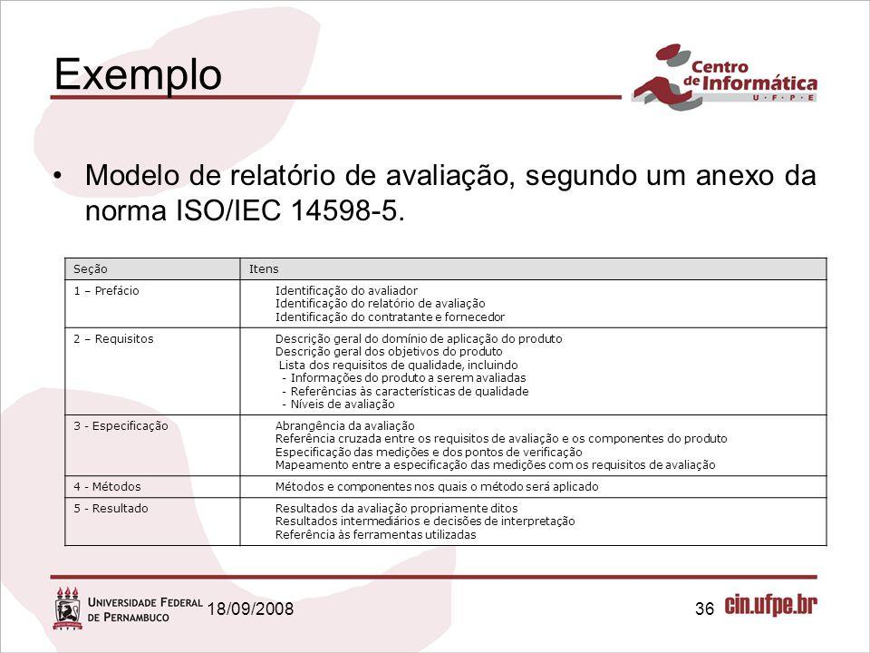 Exemplo Modelo de relatório de avaliação, segundo um anexo da norma ISO/IEC 14598-5. Seção. Itens.
