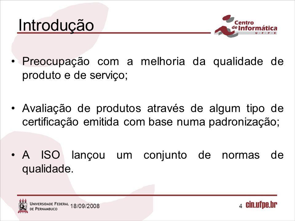 Introdução Preocupação com a melhoria da qualidade de produto e de serviço;