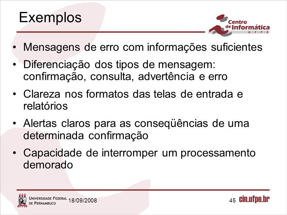 Exemplos Mensagens de erro com informações suficientes