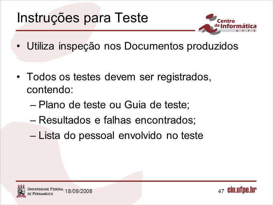 Instruções para Teste Utiliza inspeção nos Documentos produzidos