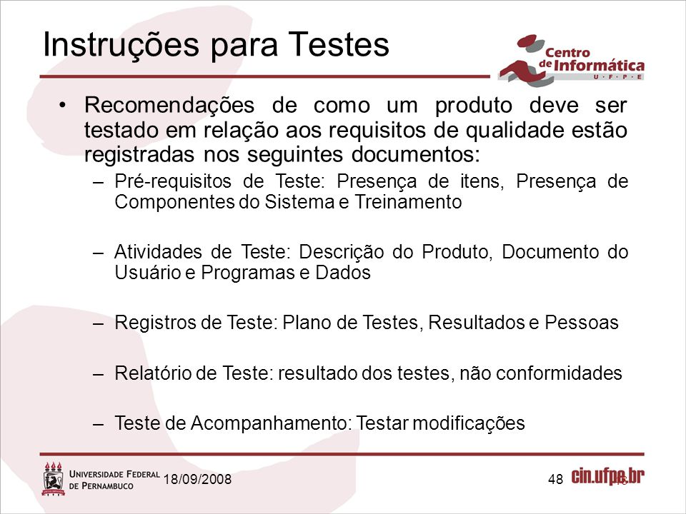 Instruções para Testes