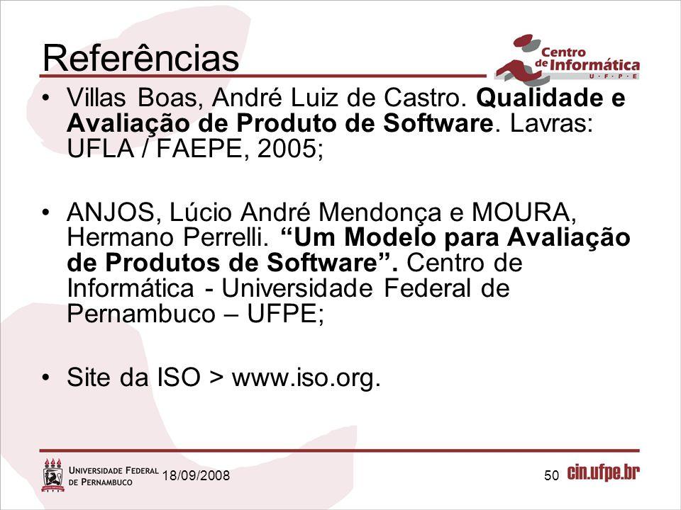 Referências Villas Boas, André Luiz de Castro. Qualidade e Avaliação de Produto de Software. Lavras: UFLA / FAEPE, 2005;