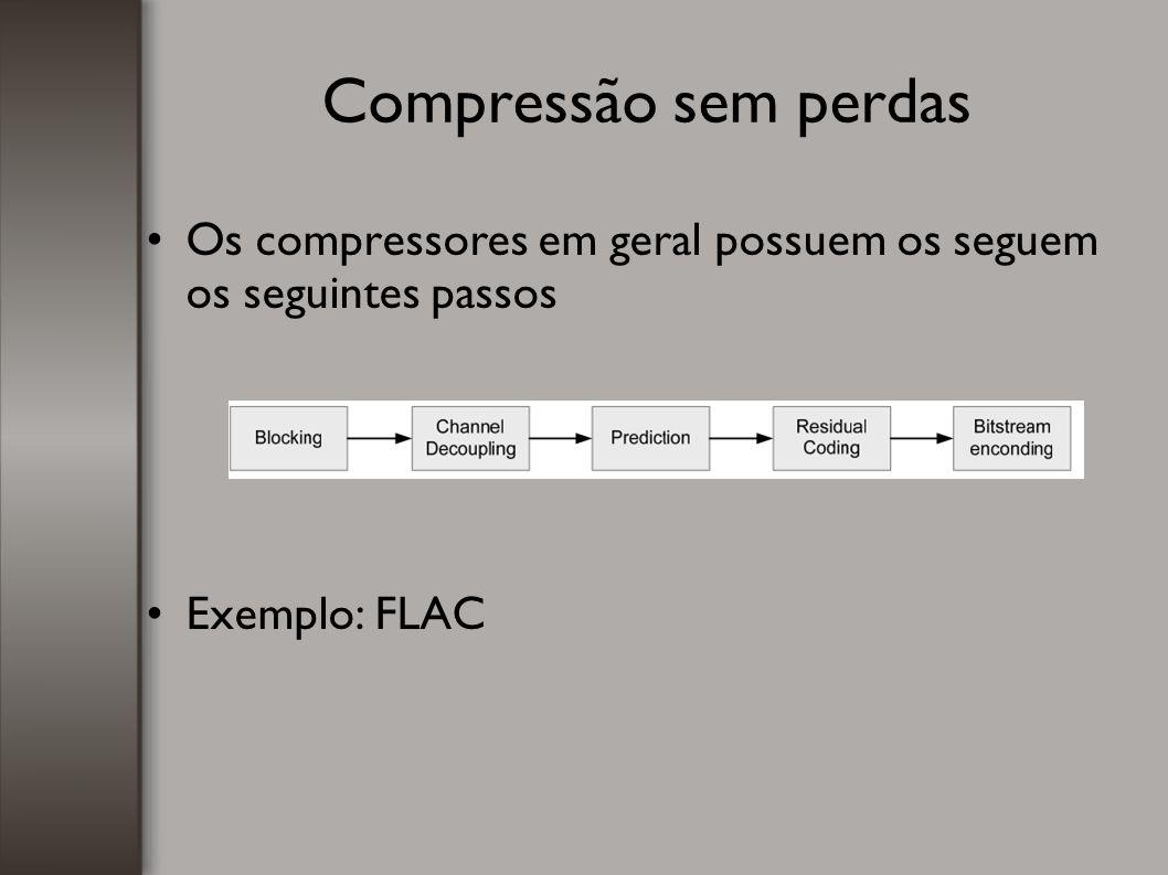 Compressão sem perdas Os compressores em geral possuem os seguem os seguintes passos Exemplo: FLAC