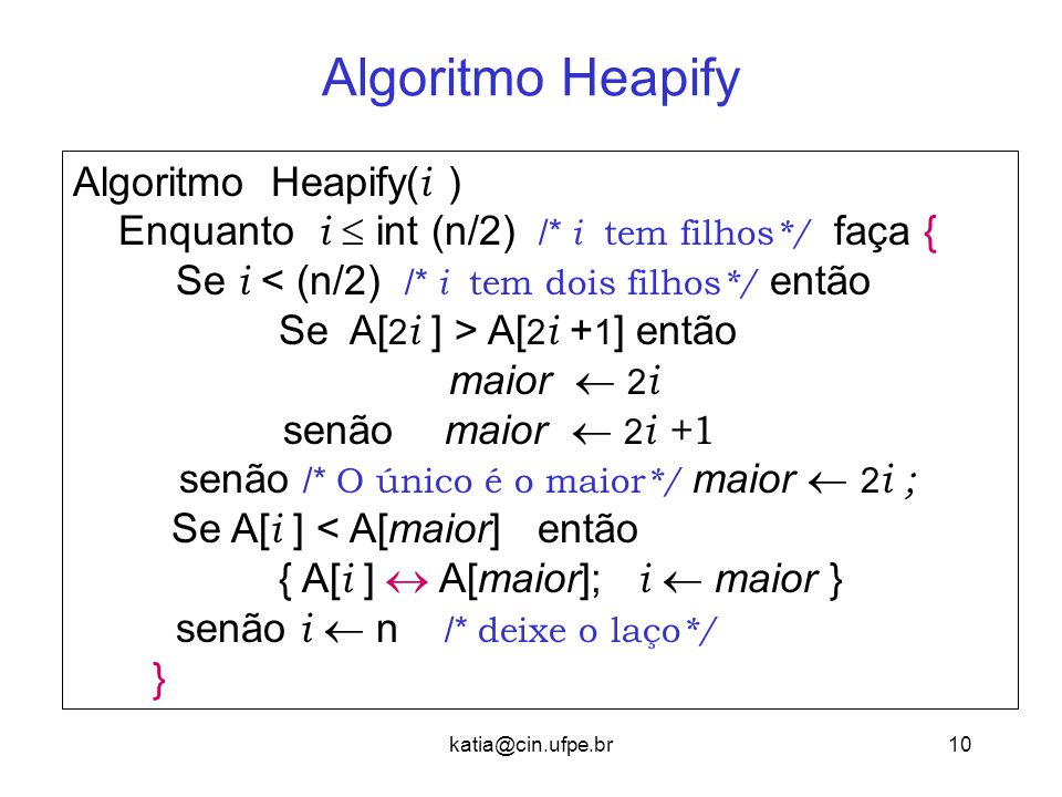 Algoritmo Heapify Algoritmo Heapify(i )