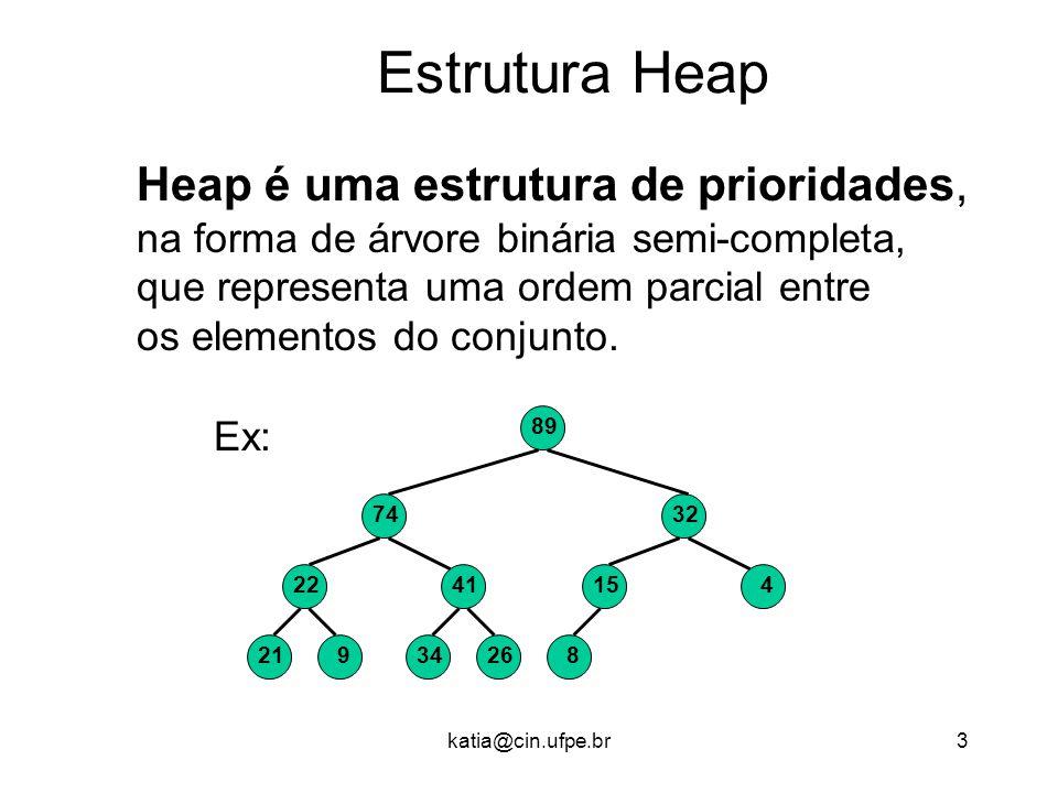 Estrutura Heap Heap é uma estrutura de prioridades,