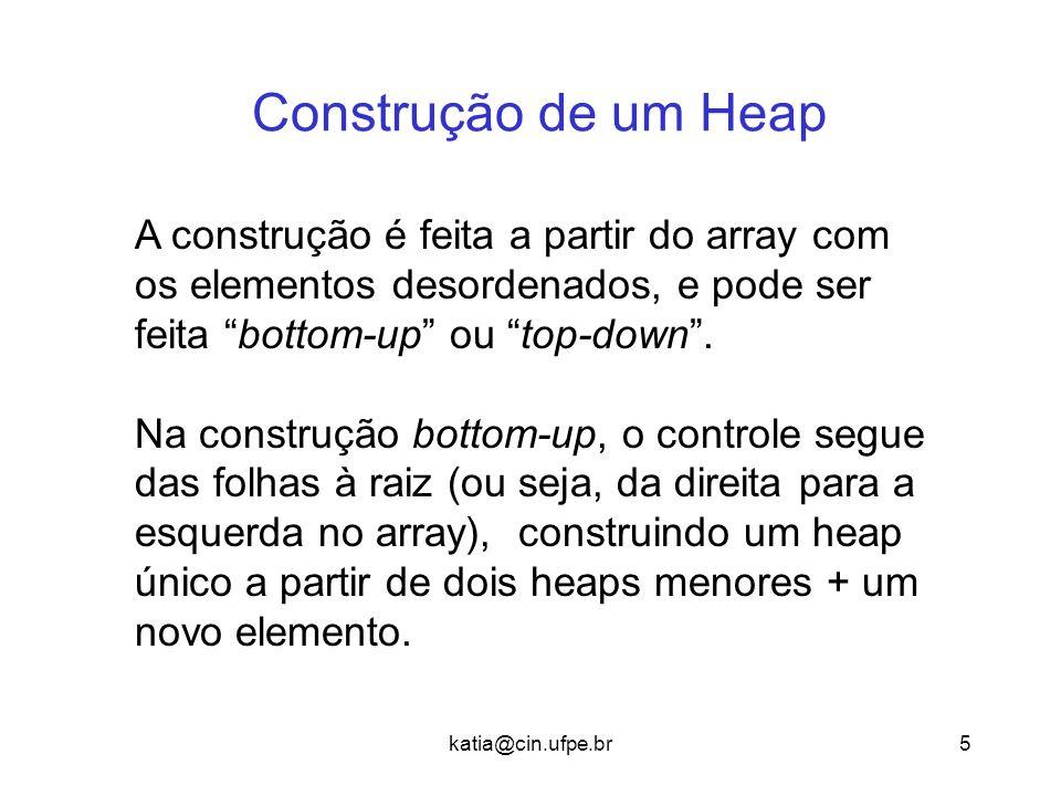 Construção de um Heap A construção é feita a partir do array com