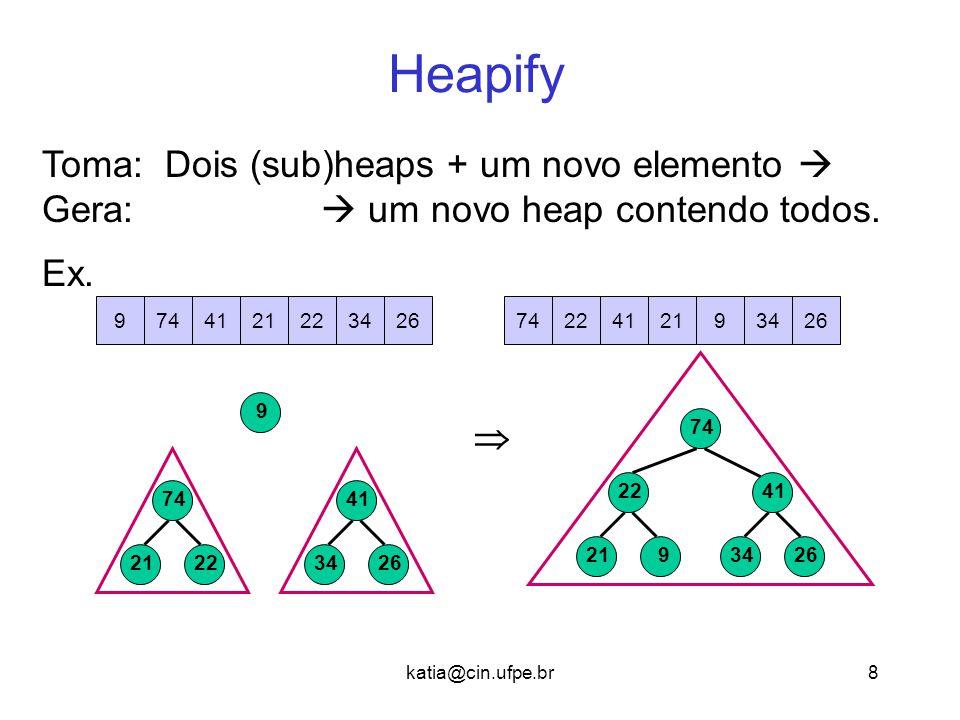 Heapify Toma: Dois (sub)heaps + um novo elemento 