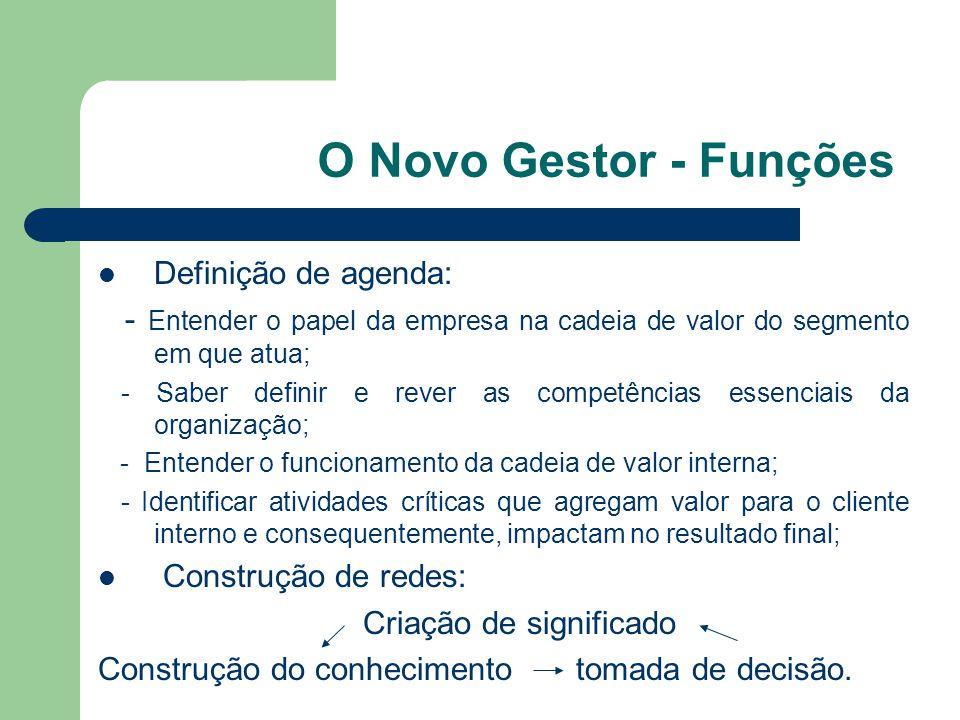O Novo Gestor - Funções Definição de agenda: