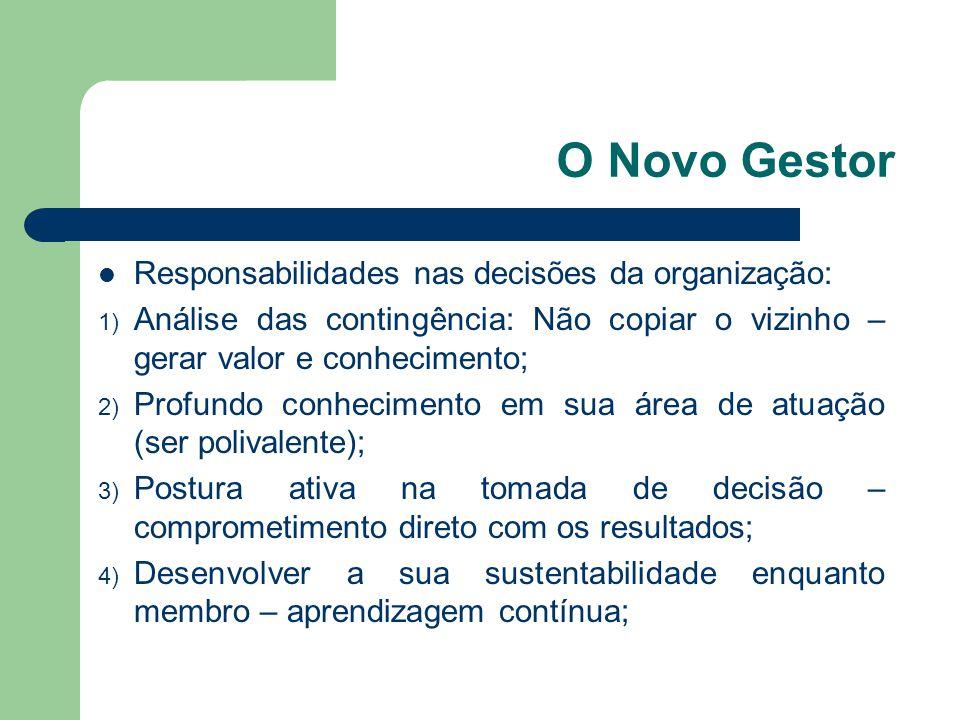 O Novo Gestor Responsabilidades nas decisões da organização: