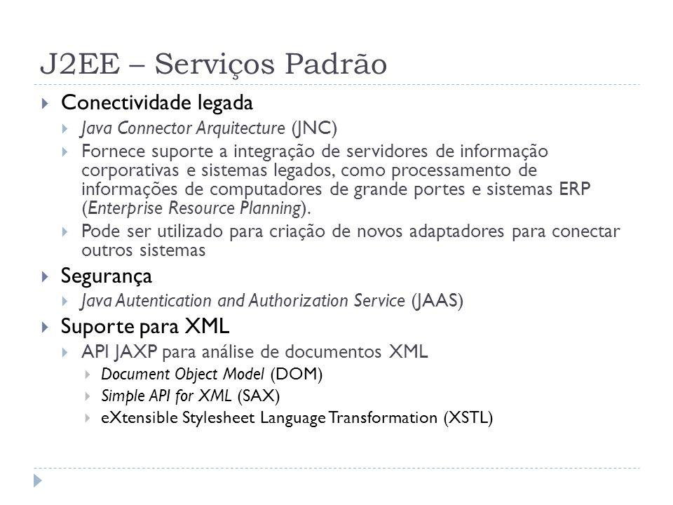 J2EE – Serviços Padrão Conectividade legada Segurança Suporte para XML