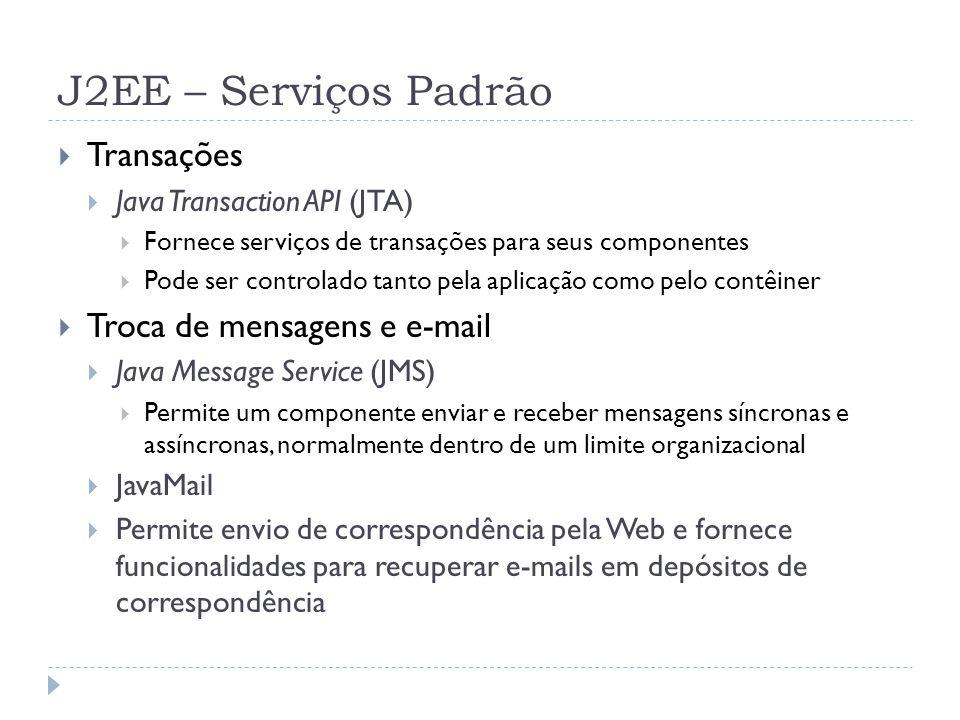 J2EE – Serviços Padrão Transações Troca de mensagens e e-mail