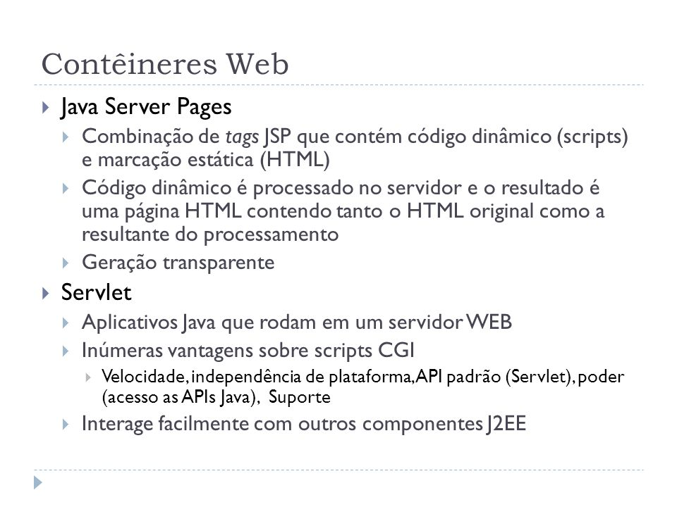 Contêineres Web Java Server Pages Servlet