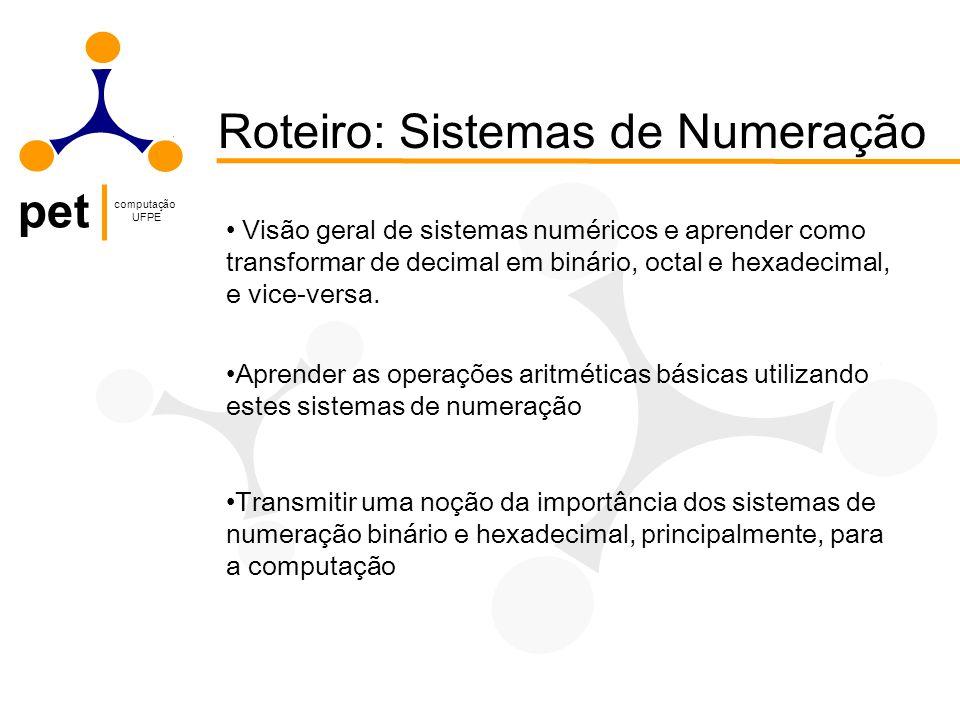 Roteiro: Sistemas de Numeração