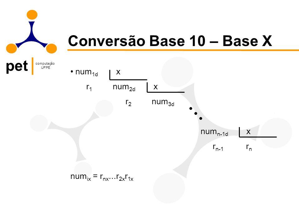 Conversão Base 10 – Base X num1d x r1 num2d x r2 num3d numn-1d x