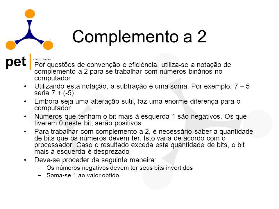 Complemento a 2 Por questões de convenção e eficiência, utiliza-se a notação de complemento a 2 para se trabalhar com números binários no computador.