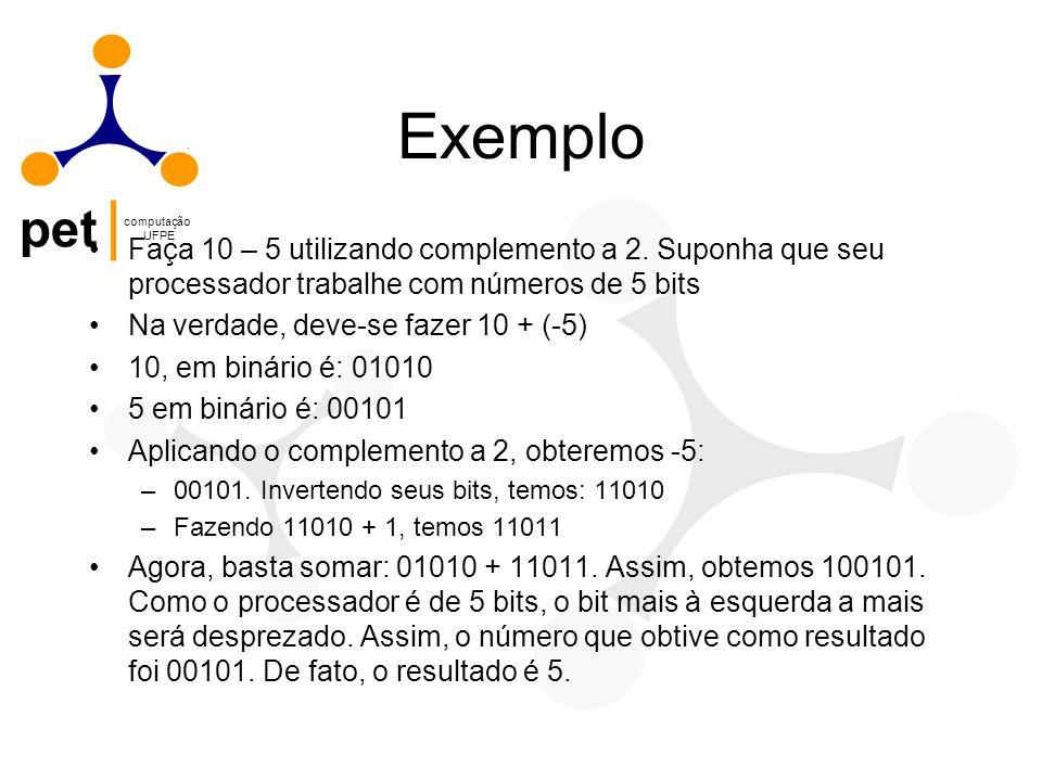 Exemplo Faça 10 – 5 utilizando complemento a 2. Suponha que seu processador trabalhe com números de 5 bits.