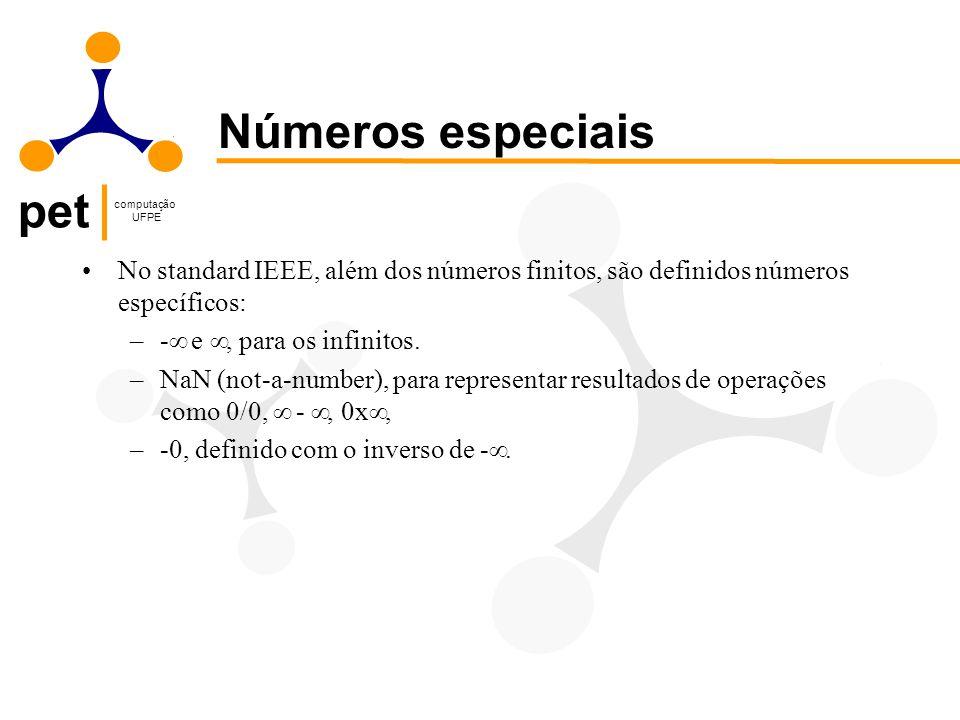 Números especiais No standard IEEE, além dos números finitos, são definidos números específicos: -¥ e ¥, para os infinitos.