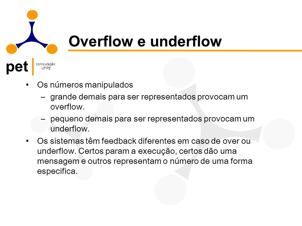 Overflow e underflow Os números manipulados