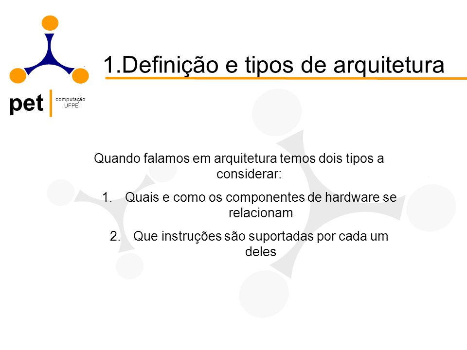 1.Definição e tipos de arquitetura