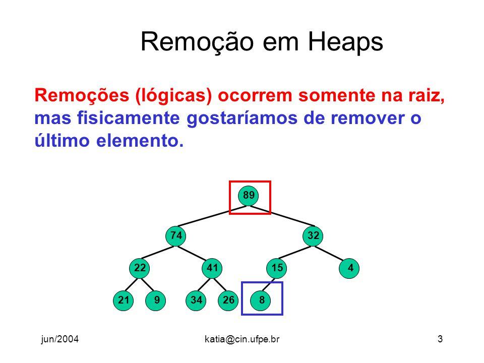 Remoção em Heaps Remoções (lógicas) ocorrem somente na raiz,