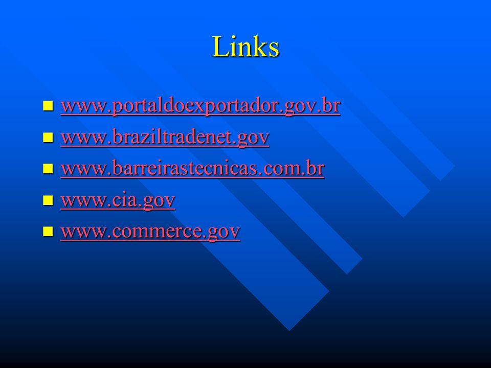 Links www.portaldoexportador.gov.br www.braziltradenet.gov