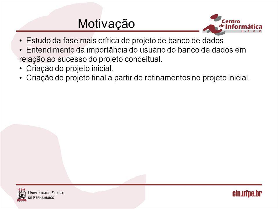 Motivação Estudo da fase mais crítica de projeto de banco de dados.