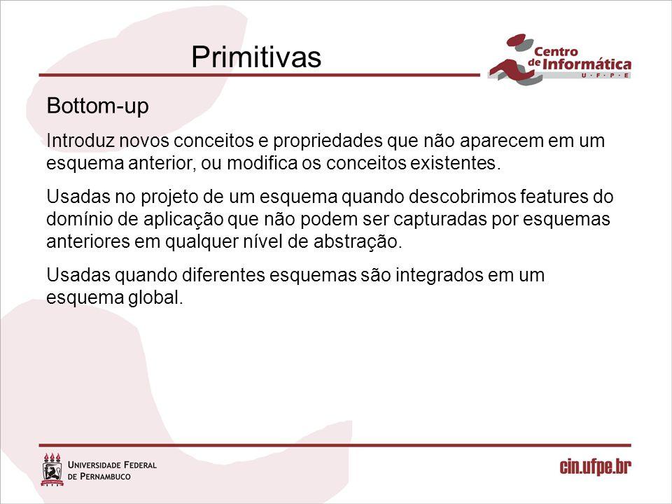Primitivas Bottom-up. Introduz novos conceitos e propriedades que não aparecem em um esquema anterior, ou modifica os conceitos existentes.