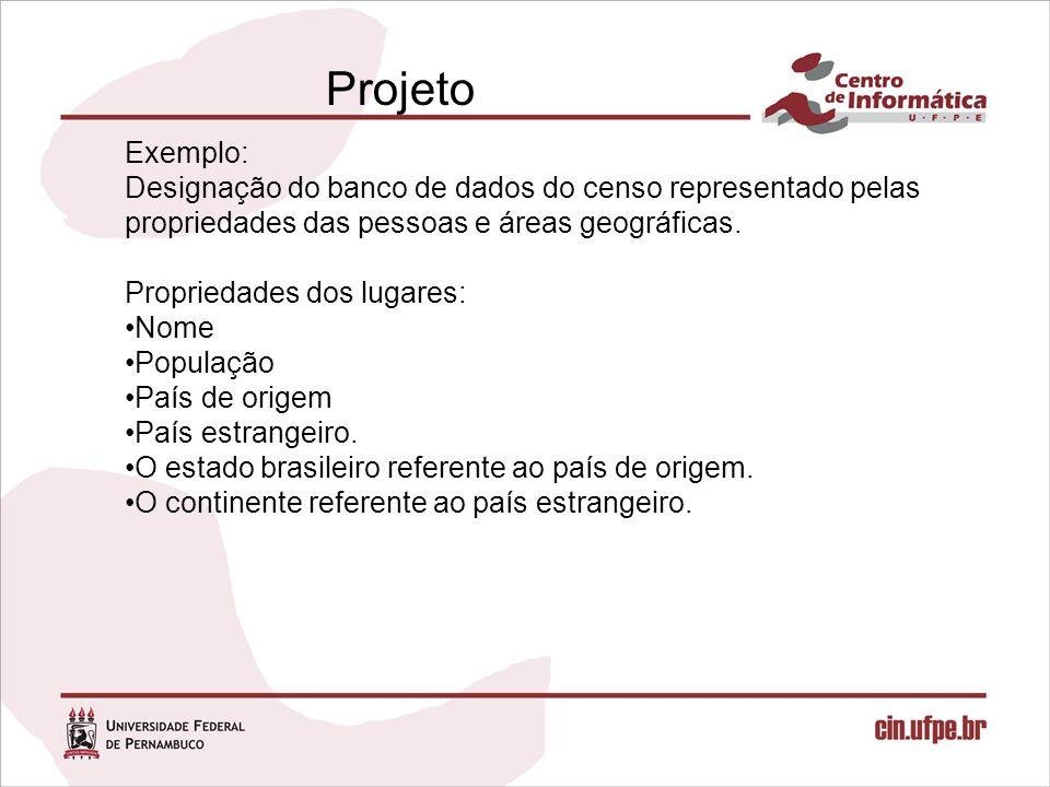 Projeto Exemplo: Designação do banco de dados do censo representado pelas propriedades das pessoas e áreas geográficas.