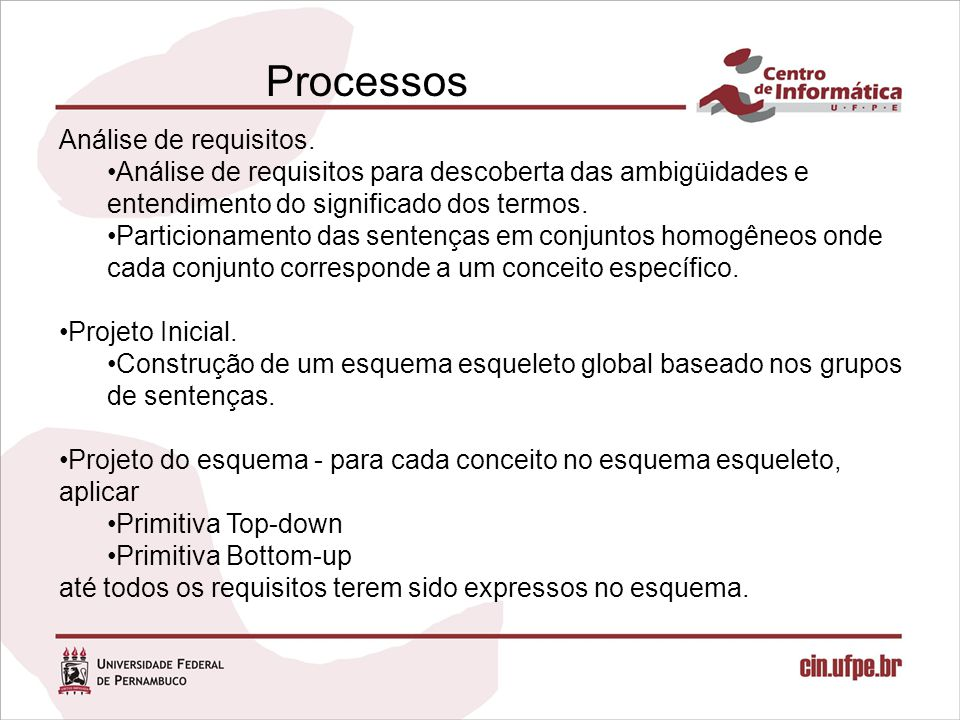 Processos Análise de requisitos.