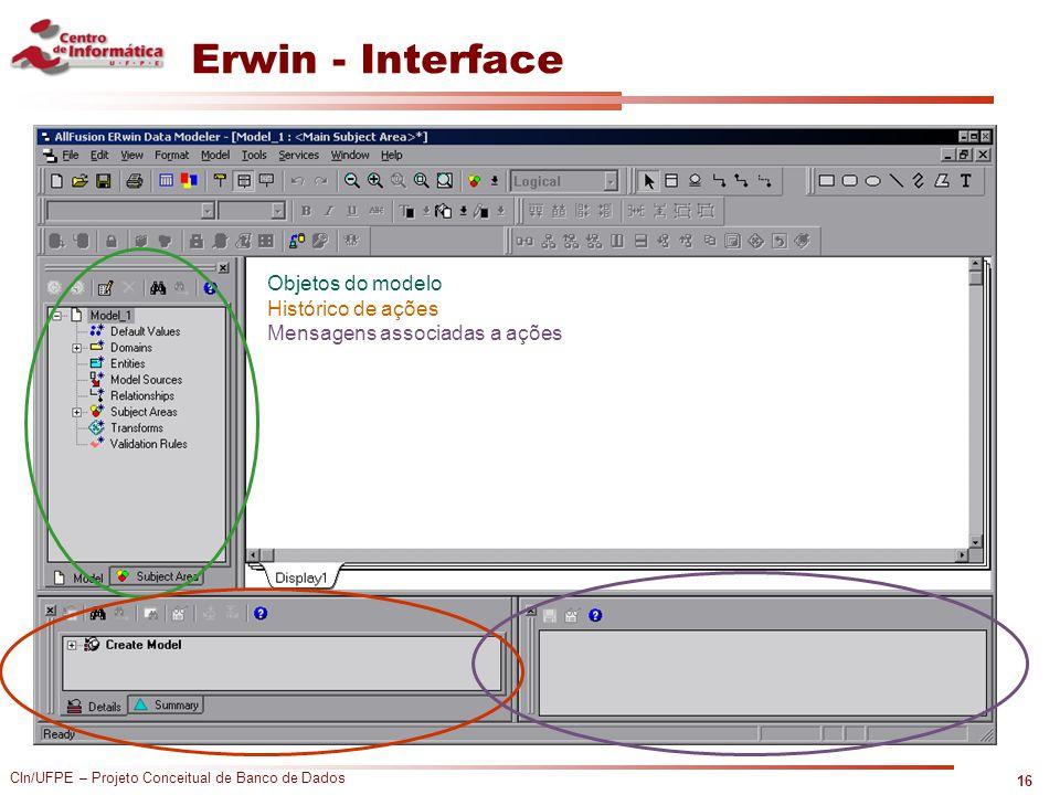 Erwin - Interface Objetos do modelo Histórico de ações