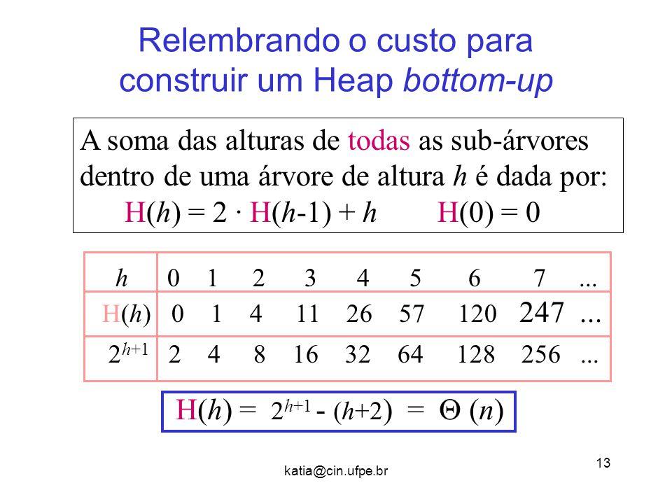 Relembrando o custo para construir um Heap bottom-up