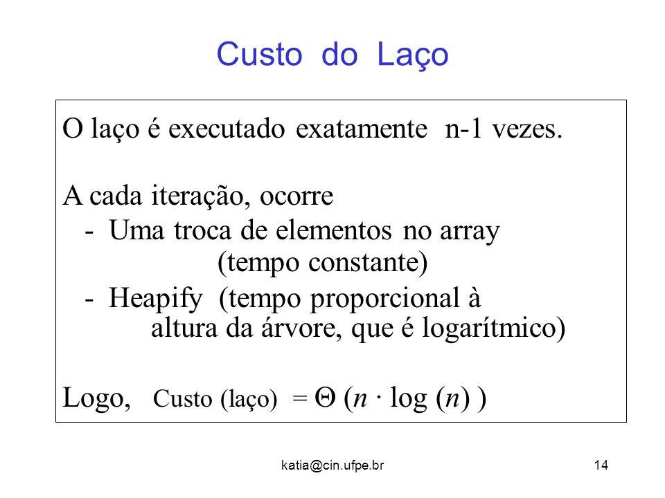 Custo do Laço O laço é executado exatamente n-1 vezes.
