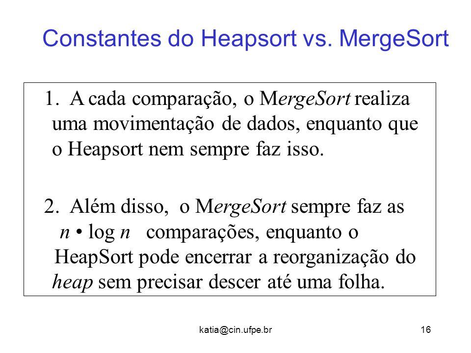 Constantes do Heapsort vs. MergeSort