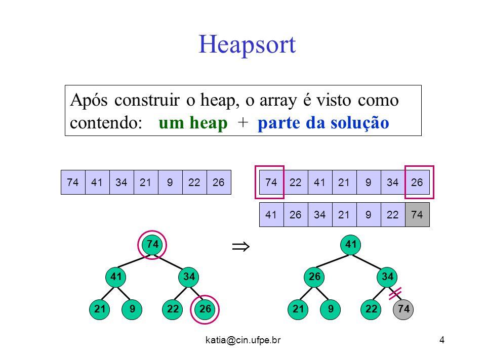 Heapsort Após construir o heap, o array é visto como