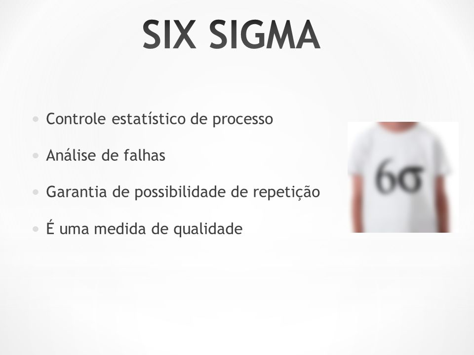 SIX SIGMA Controle estatístico de processo Análise de falhas