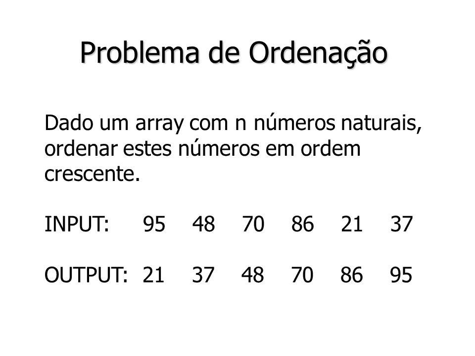 Problema de Ordenação Dado um array com n números naturais,
