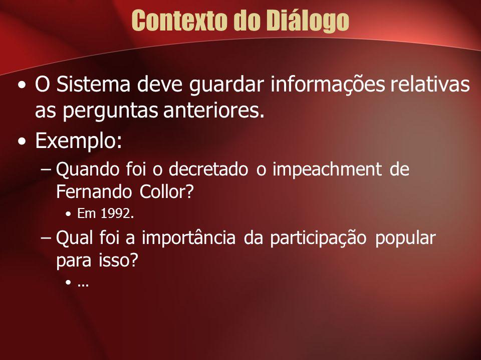 Contexto do Diálogo O Sistema deve guardar informações relativas as perguntas anteriores. Exemplo: