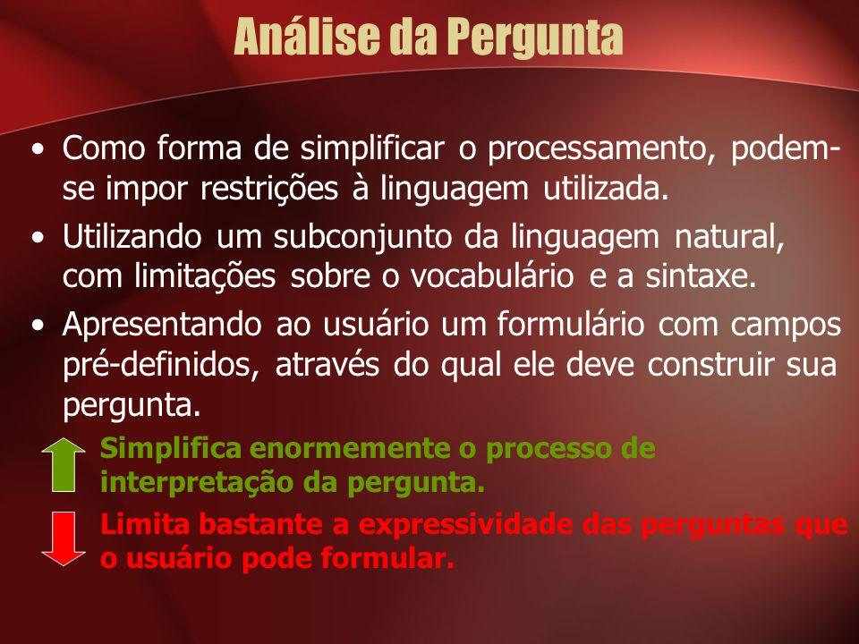 Análise da Pergunta Como forma de simplificar o processamento, podem-se impor restrições à linguagem utilizada.