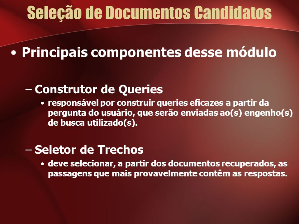 Seleção de Documentos Candidatos