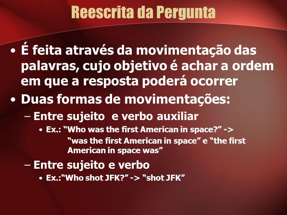 Reescrita da Pergunta É feita através da movimentação das palavras, cujo objetivo é achar a ordem em que a resposta poderá ocorrer.