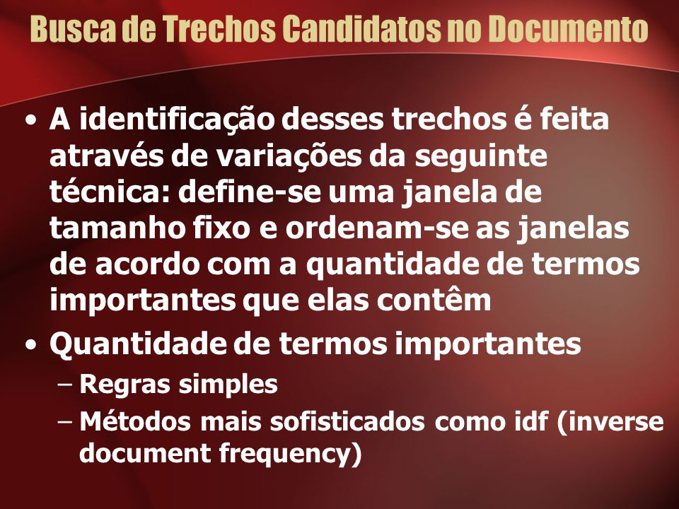 Busca de Trechos Candidatos no Documento