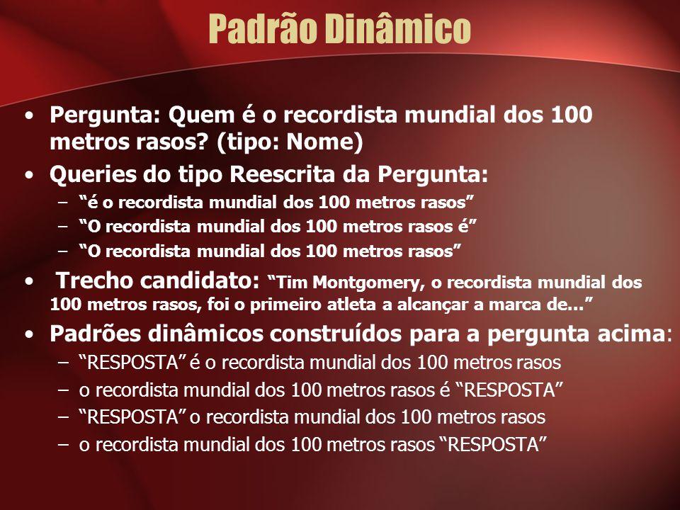 Padrão Dinâmico Pergunta: Quem é o recordista mundial dos 100 metros rasos (tipo: Nome) Queries do tipo Reescrita da Pergunta: