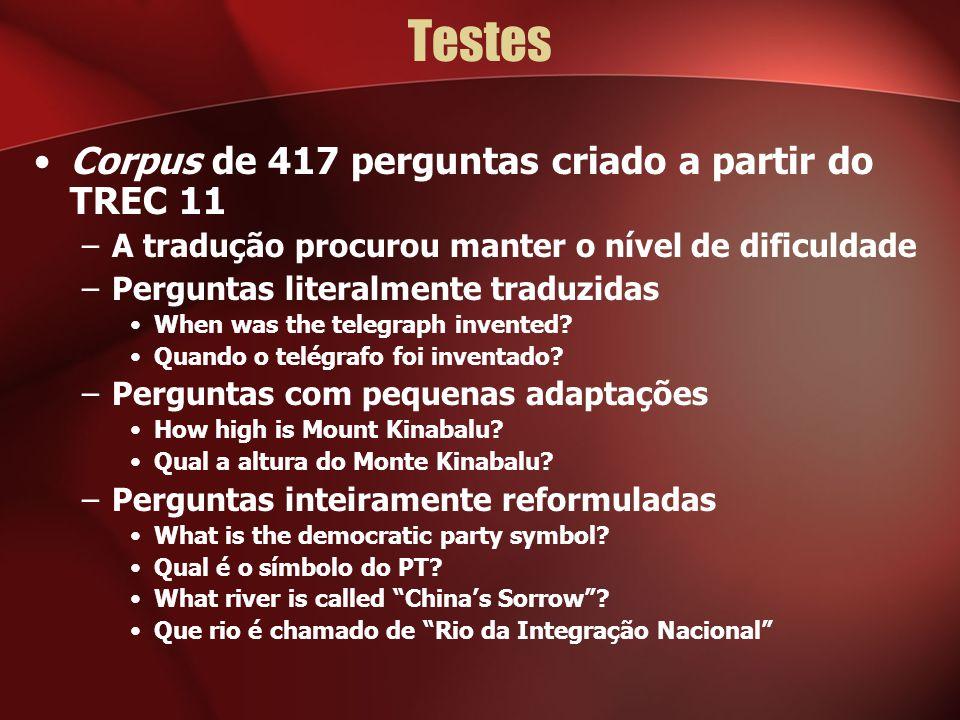 Testes Corpus de 417 perguntas criado a partir do TREC 11