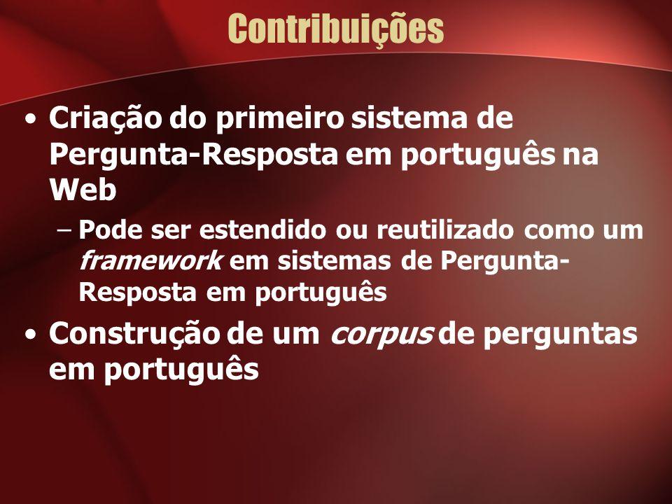 Contribuições Criação do primeiro sistema de Pergunta-Resposta em português na Web.
