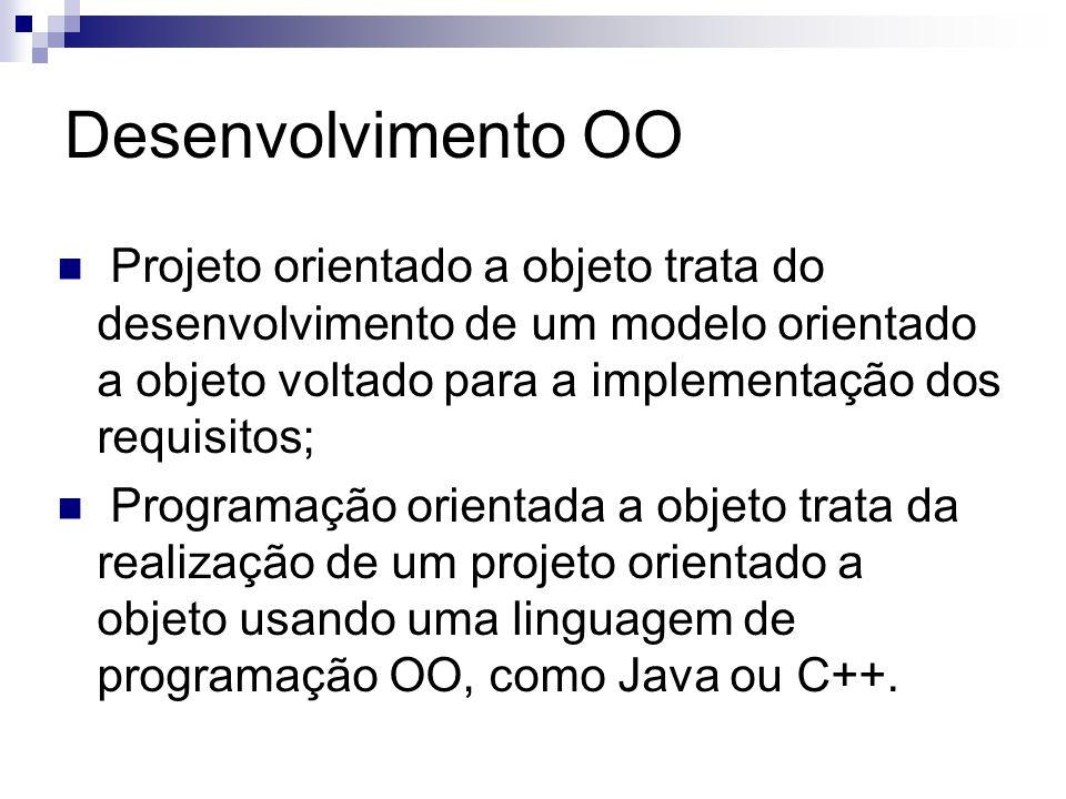 Desenvolvimento OO Projeto orientado a objeto trata do desenvolvimento de um modelo orientado a objeto voltado para a implementação dos requisitos;