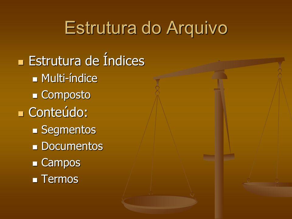 Estrutura do Arquivo Estrutura de Índices Conteúdo: Multi-índice