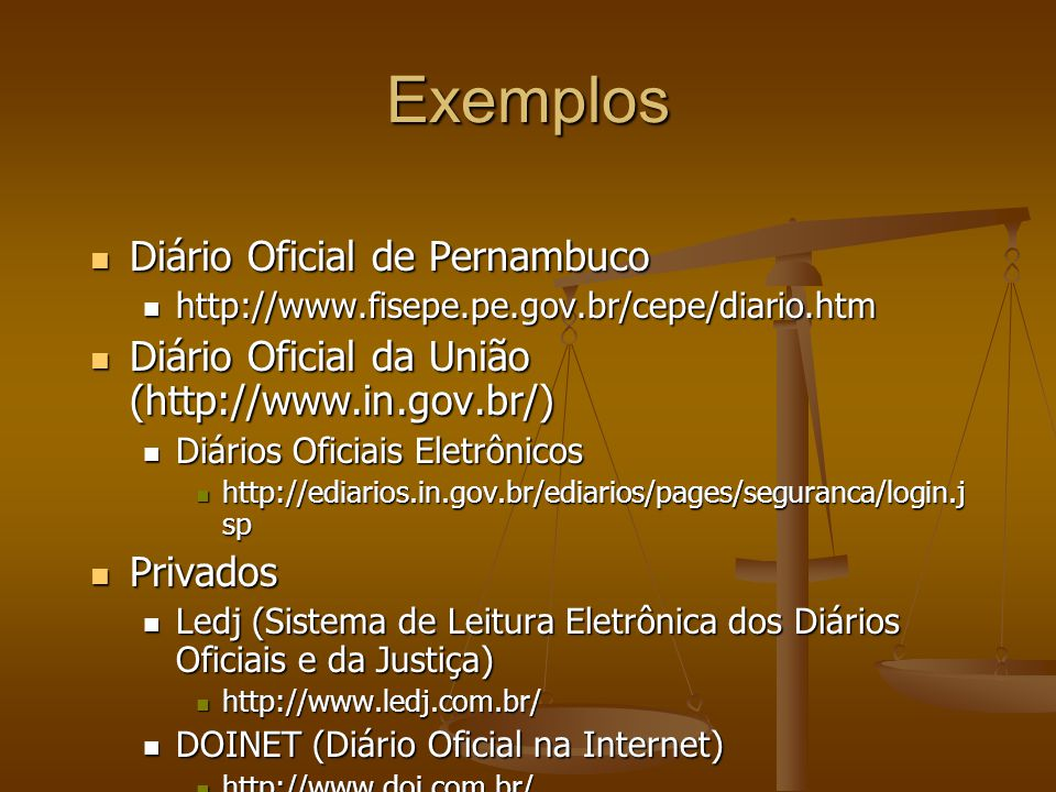 Exemplos Diário Oficial de Pernambuco